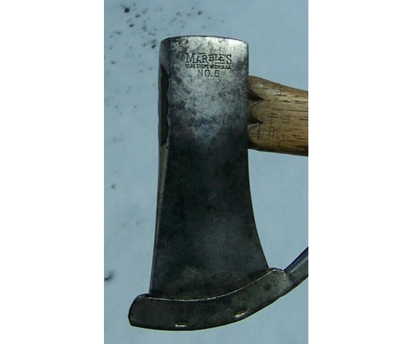 ANTIQUE MARBLE'S GLADSTONE MICH NO.5 SAFETY AXE WITH ANTIQUE MARBLE'S BRASS PIN ON COAT COMPASS !!!