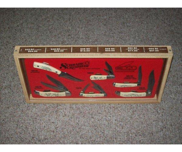 Schrade USA Scrimshaw Display w/Knives C. 1980 - 500 SC, 502 SC, 503 SC, 505 SC, 506 SC, & 508 SC