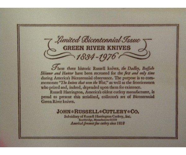 John Russel Cutlery Co. Green River Works 1834-1976 Bicentennial 3 Knife Set - NIB