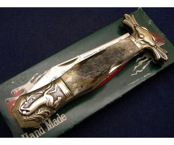 Parker Cut. Co. Hand Made Japan Bone EK-1 Folding Lockback Bowie Knife - NIB