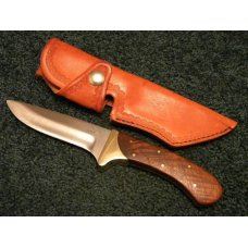 Custom Wood Handle Fixed Blade Sheath Knife by Don Duck Gidcumb