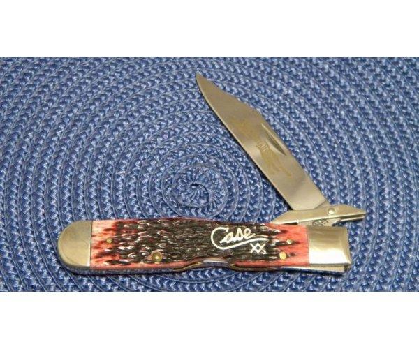 Case XX USA 2002 Cranberry Bone 6111 1/2L SS Cheetah Knife - New in Tin