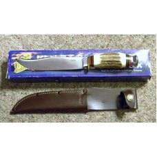Linder Messer Solingen Germany Stag Fixed Blade Sheath Knife in Box
