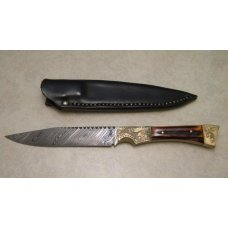 Custom Stag Damascus Fixed Blade Knife with Leather Sheath by R.C.