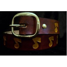 Handmade Leather Belt With Music Stamp - Made in the USA