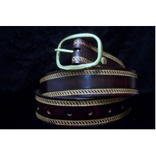 Handmade Leather Belt Rope Border- Made in the USA
