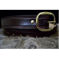 Handmade Leather Belt Rope Border- Made in the USA - STAIN IN TOOLING