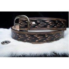 Handmade Leather Belt Flame Tooling- Made in the USA