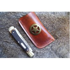 Handmade Leather Pocket Knife Case Large Upright - Open Top # 19659