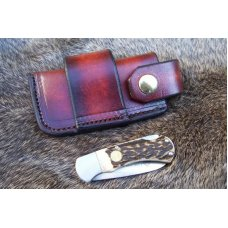 Handmade Leather Pocket Knife Case Sidewinder Med.