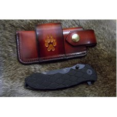 Handmade Leather Pocket Knife Case Large Sidewinder