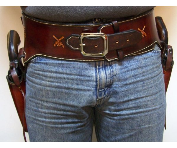 Handmade Lined Leather Double Holster & Cartridge Belt  Rig - Custom Tooling - See Gun List Below