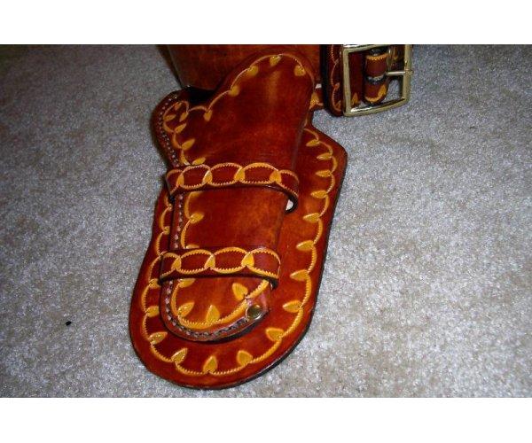 Handmade Lined Leather  Holster & Cartridge Belt  Rig - Custom Tooling - See Gun List Below