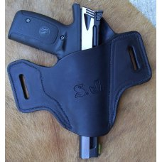 Leather Gun Holster For Semi Autos - Pancake-  Browning Buckmark or S&W 22A-1, See Gun List Below