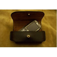 Custom Leather Cell Phone Case - Sideways Carry - Button Stud Closure - Fits iphone & Droid