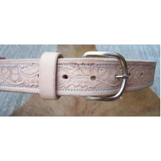 Custom Leather Belt With Tooled Oakleaf Acorns
