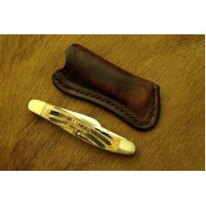 Custom Leather Pocket Sheath For Pocket Knives - Up to 4
