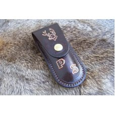Custom Leather Pocket Knife Case Small Upright - Metal Belt Clip
