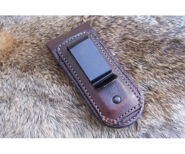 Custom Leather Pocket Knife Case Small Upright - Metal Belt Clip