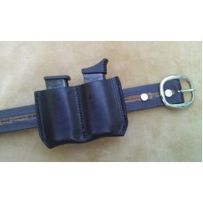 Leather Double Magazine Pouch With Belt Clip -Taurus PT738,TCP,Keltec,Ruger LCP,& Sig Sauer P238