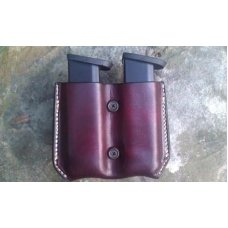 Custom Leather Double Magazine Pouch With Belt Clip - Mid to Large Sized Semi-Automatics