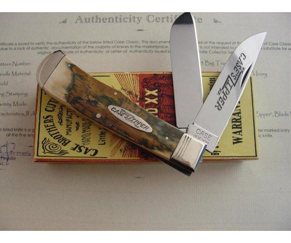 Case XX Classic 223 Genuine Mastodon Bark Ivory Handle Trapper Knife Prototype