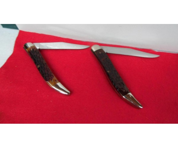 KABAR TEXAS TOOTHPICK PAIR GOLD AND SILVER 1980s JIGGED BONE UNUSED