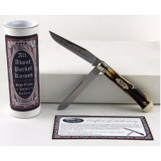 2010 AAPK Club Knife  - Genuine Burnt Stag  3 78 Trapper - 1095 Steel Blades