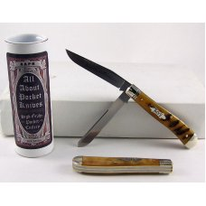 2010 AAPK Club Knife  - Interior Rams Horn 3 78 Trapper - 1095 Steel Blades