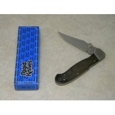Rigid RG-21 Surgical Steel Japan Plain Edge Wood Large Lockback Thumb Stud Knife in Box