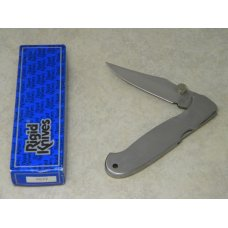 Rigid RG-22 Surgical Steel Japan Plain Edge Metal Large Lockback Thumb Stud Knife in Box