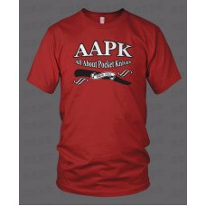 Red All About Pocket Knives (AAPK) T-Shirt - High Quality 6 oz. Heavyweight Cotton
