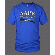Blue All About Pocket Knives (AAPK) T-Shirt - High Quality 6 oz. Heavyweight Cotton
