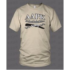 Sand Colored All About Pocket Knives (AAPK) T-Shirt - High Quality 6 oz. Heavyweight Cotton