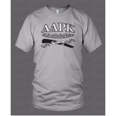 Athletic Grey Colored All About Pocket Knives (AAPK) T-Shirt - High Quality 6 oz. Heavyweight Cotton