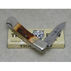 "Frost Cutlery Japan Second Cut Stag ""Tiger Paw"" Lockback Knife in Box"