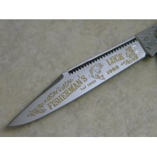 Fight'n Rooster Germany Celebrated Green & Tan Stripe 1989 Fisherman's Luck Stockman Knife