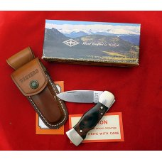 "Western USA S-532 ""A"" Wood Westlock Lockback Knife w Sheath in Box 1977 ""PAT. PEND."" First Year"