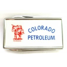 """Colorado Petroleum"" Vintage Barlow Stainless Steel Advertisement Money Clip W/ File & Blade"