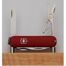 "Victorinox 4-Blade 2 1/4"" Long Multitool Knife In Very Good Condition w/Red Synthetic Covers (928)"