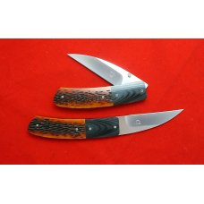 Owen Wood Custom Wharncliffe Linerlock Knife Set Amber Bone G10 Bolsters Rare