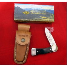 "Western USA S-532 ""F""  Westlock Lockback Knife w Sheath in Box 1982  White Tail Deer Etch Mint"