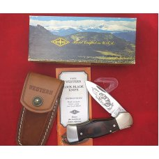 "Western USA S-532 ""B""  Wood Westlock Lockback Knife Sheath & Box 1978 Cougar / Mountain Lion Etch"