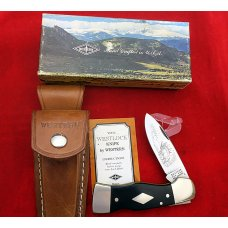 "Western USA S-531 ""C""  Westlock Lockback Knife Sheath & Box 1979  Diamond Shield BULL ELK"