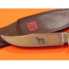 Vint J A Henckels Fixed Blade Hunter Knife w/ Stag Handles & Gold Blade Etch of Wolf Howling at Moon