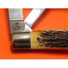 Vintage, NOS, J A Henckels 4 Blade Congress Knife w/ Nice Stag Handles w/ Red Shield +Orig Box