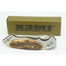 X3M1 WOOD GRAIN PATTERN PUSH BUTTON SWITCHBLADE  WITH SLIDING LOCK 4 58 quot NIB