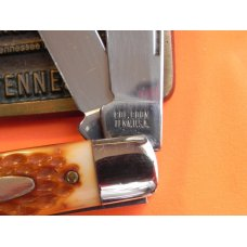 Vintage Colonel Coon 3 Blade Stockman Pocket Knife with Derlin Handles -NOS -Factory Edges on Blades