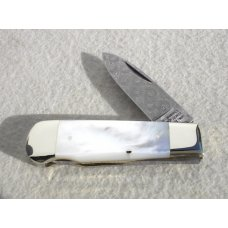 "Weidmannsheil 3 1/8"" Solingen Germany AAA Mother of Pearl Damascus Lock Back Knife"