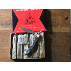 vintage full box of 6 EYE X L made in JAPAN bone handle easy open  knives like new but old